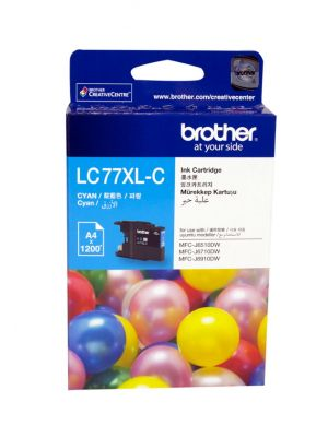 Brother LC-77XLC Cyan Super High Yield Ink Cartridge- MFC-J6510DW/J6710DW/J6910DW/J5910DW - up to 1200 pages