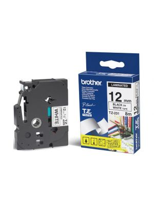 Brother 12mm Black on White TZE Tape