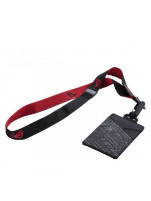 ASUS ROG CARD HOLDER OH100 For ID Card, Slide In Pouch, Snap Buckle For Luggage, Red and Black ROG Lanyard