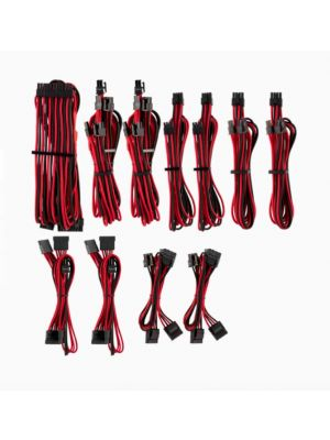 For Corsair PSU - RED/BLACK Premium Individually Sleeved DC Cable Pro Kit, Type 4 (Generation 4)