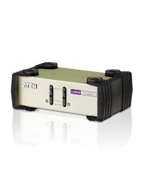 Aten Desktop KVM Switch 2 Port Single Display VGA, Both USB & PS/2 Options, Custom Cables Included, Selection Via Front Panel,