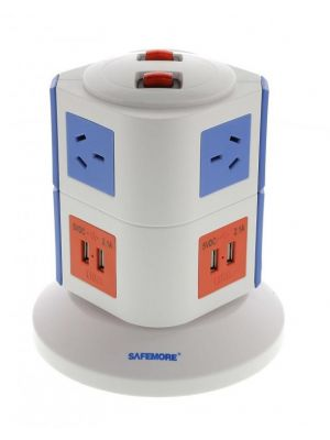Safemore 2 Level VPS Original Power Stackr 6 Outlets with 4 USB Charging - Blue/Orange