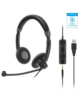 EPOS I Sennheiser SC75 USB Stereo Headset, USB / 3.5mm Connections, Teams Certified, Noise Cancel Mic, Lightweight, 2 Yr Warranty