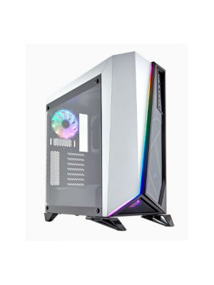 Corsair Carbide SPEC-OMEGA RGB ATX Mid-Tower Tempered Glass Gaming Case, Brilliant RGB LED front fascia, 2x RGB HD Fan, White with Black Trim (LS)