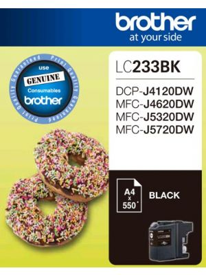 Brother LC-233BK Black Ink 550 Page/For J4120/4620/5720DW (LS)