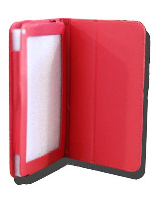 LeaderTab7 Folio Case Red Faux Leather. Camera hole rear
