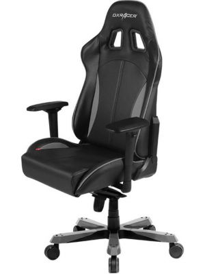 DXRacer King KS57 Gaming Chair - Neck/Lumbar Support Black & Carbon Grey