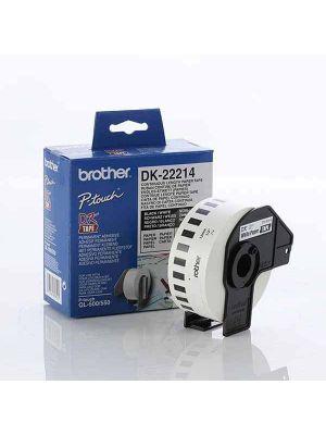 Brother White Paper Roll 12mm x 30.48. DK-22214. For use with QL-500, QL-550, QL-650TD and QL-1050 printers