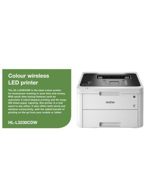 Brother HL-L3230CDW Colour LED Laser Printer with automatic 2-sided printing and wireless connectivity. 24ppm Mono and Colour, 250 sheets capacity