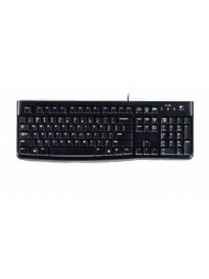 Logitech K120 Keyboard Quiet typing Spill-resistant Durable keys Thin profile Curved space bar Adjustable tilt legs