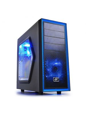 Deepcool Tesseract SW Mid Tower Case Side Window Includes 2 Blue 120mm LED Fans, Black Case