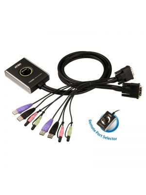 Aten Compact KVM Switch 2 Port Single Display DVI w/ audio, 1.2m Cable, Remote Port Selector,