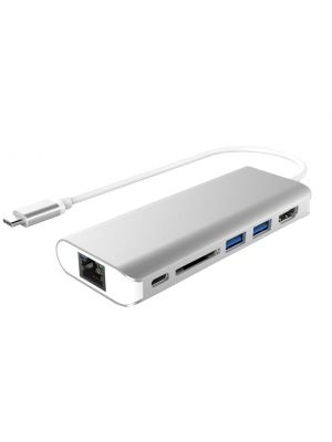Astrotek All-in-One Dock Thunderbolt USB-C 3.1 Type-C to HDMI 2xUSB3.0 Hub Card Reader RJ45 Gigabit LAN TypeC PD Function for Macbook Pro Air Notebook